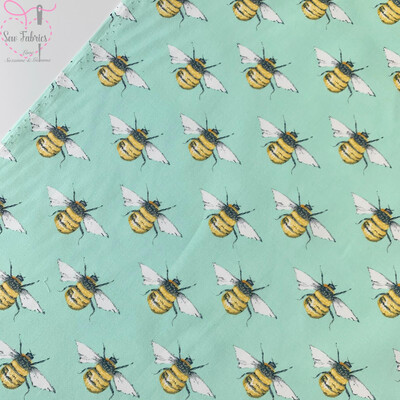 Rose and Hubble Meadow Green Bee Print Fabric 100% Cotton Poplin