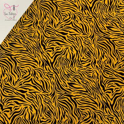 John Louden Fabric Ochre Zebra Print Cotton Elastane Printed Jersey
