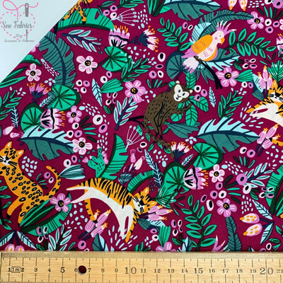 Cranberry Jungle Life Floral Tropical Animal Fabric 100% Cotton Poplin 57