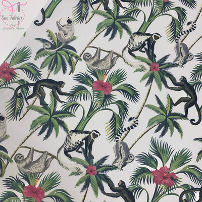 Green Monkey Palm Leaves, The Little Johnny Collection Animal, Floral Fabric 100% Cotton 59