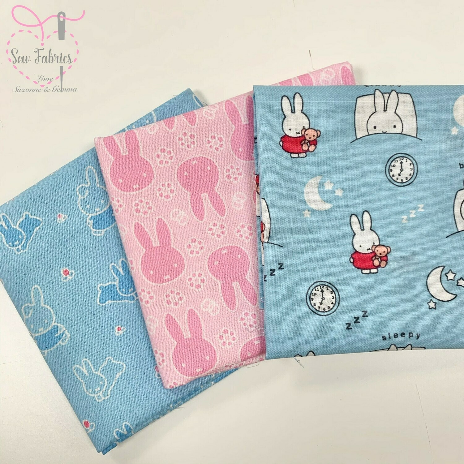 Miffy Fabric 3 Piece Bundle 100% Cotton Licensed