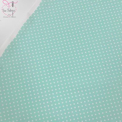 Rose and Hubble Mint Polka Dot Fabric 100% Cotton Poplin Spot Geometric Material