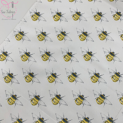 Rose and Hubble Ivory Bee Print Fabric 100% Cotton Poplin