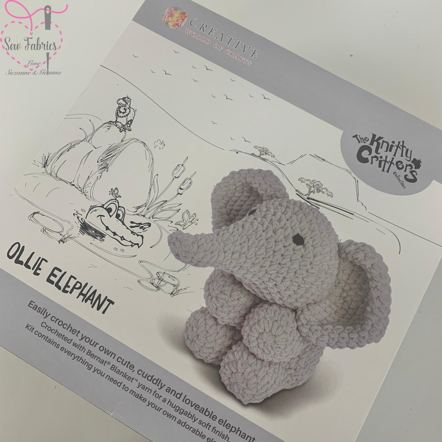 The Knitty Critters Collection, Ollie Elephant Crochet Kit for Beginners,  Supersized and Gift Boxed Elephant Kit