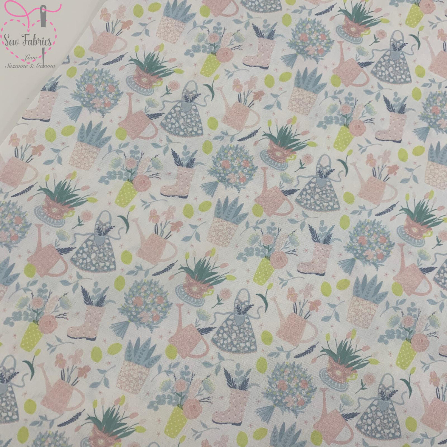 """White Flower Pots Design, The Little Johnny Collection Summer Fabric 100% Cotton 59"""" Wide Width"""