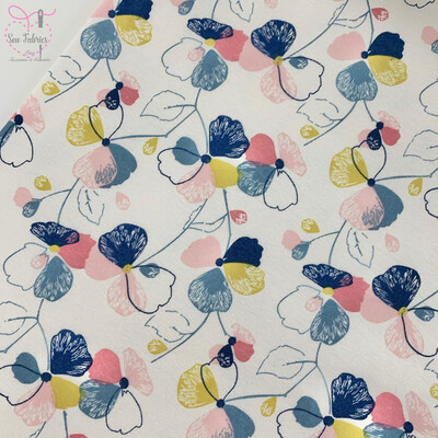 John Louden Multi Pansy Floral Cotton Polyester Elastane Fleece Backed Jersey Fabric