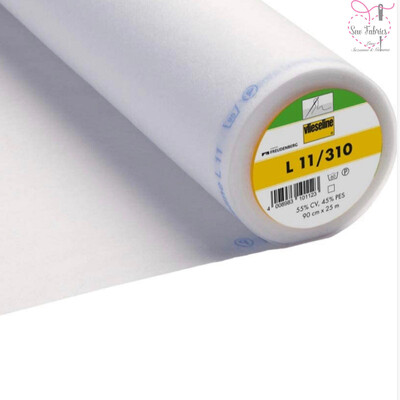 1m x White Lightweight Standard Sew-in Non Woven Interfacing/Interlining 90cm Wide by Vilene Vlieseline, for stiffening fabrics