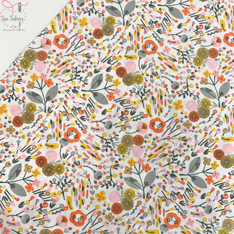 """John Louden White Festival of Flowers 100% Cotton Fabric 60"""" Wide Width"""