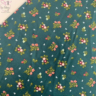 John Louden Green Floral Babycord, 100% Cotton Needlecord Fabric, 57