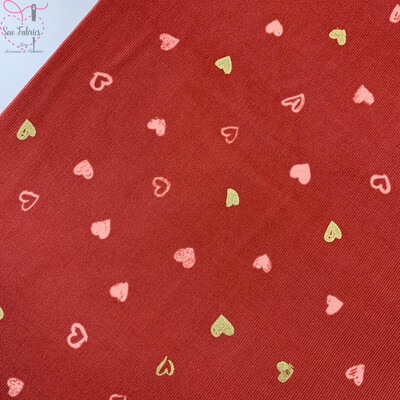 John Louden Terracotta Red Glitter Heart Print Babycord, 100% Cotton Needlecord Fabric, 57