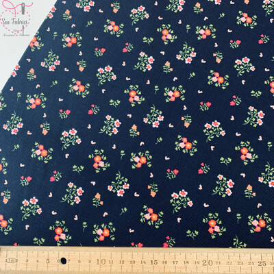 John Louden Navy Blue Floral Babycord, 100% Cotton Needlecord Fabric, 57