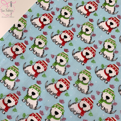 Blue Christmas Cute Dog Printed Polycotton Fabric Xmas, Festive Material
