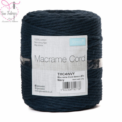4mm Navy Trimits Macrame Cord, 100% Cotton, String, Craft, Made in UK, 87m Spool
