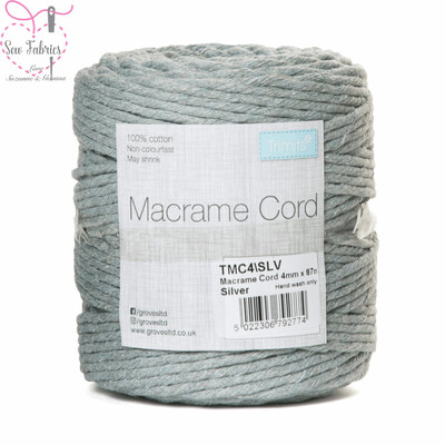 4mm Silver Trimits Macrame Cord, 100% Cotton, String, Craft, Made in UK, 87m Spool