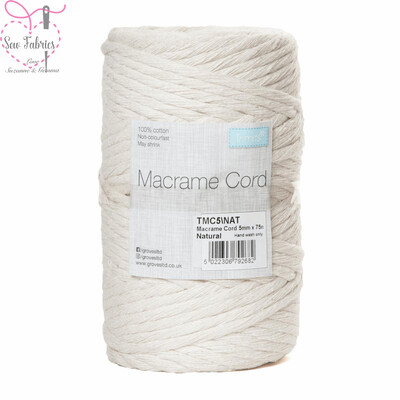 5mm Natural Trimits Macrame Cord, 100% Cotton Beige String for Craft, Made in UK, 75m Spool