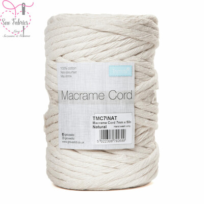 7mm Natural Trimits Macrame Cord, 100% Cotton Beige String for Craft, Made in UK, 50m Spool