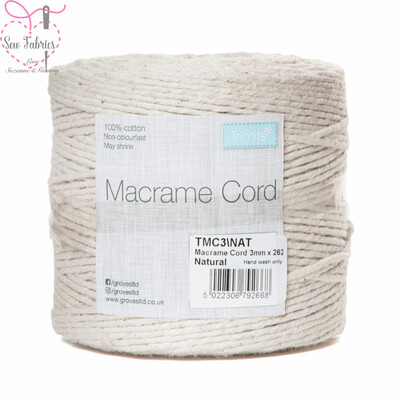 3mm Natural Trimits Macrame Cord, 100% Cotton Beige String for Craft, Made in UK, 262m Spool
