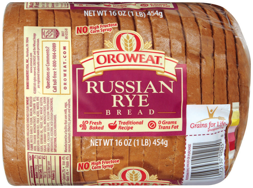Loaf Bread, Oroweat® Russian Rye® Bread (16 oz Bag)