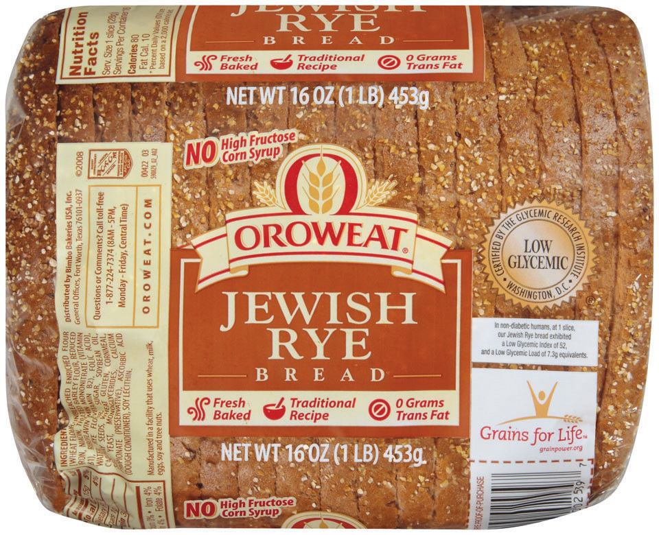 Loaf Bread, Oroweat® Jewish Rye® Bread (16 oz Bag)