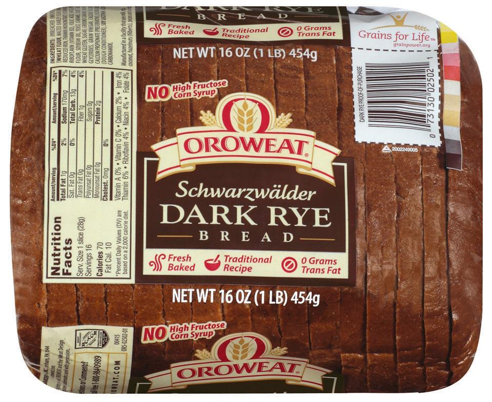 Loaf Bread, Oroweat® Schwarzwalder Dark Rye Bread (16 oz Bag)