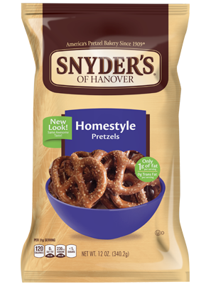 Pretzels, Snyder's® Homestyle Pretzels, 16 oz Bag
