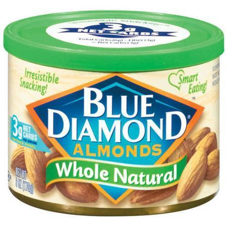 Snack Food, Nuts, Blue Diamond® Almonds, Whole Natural, 6 oz Can