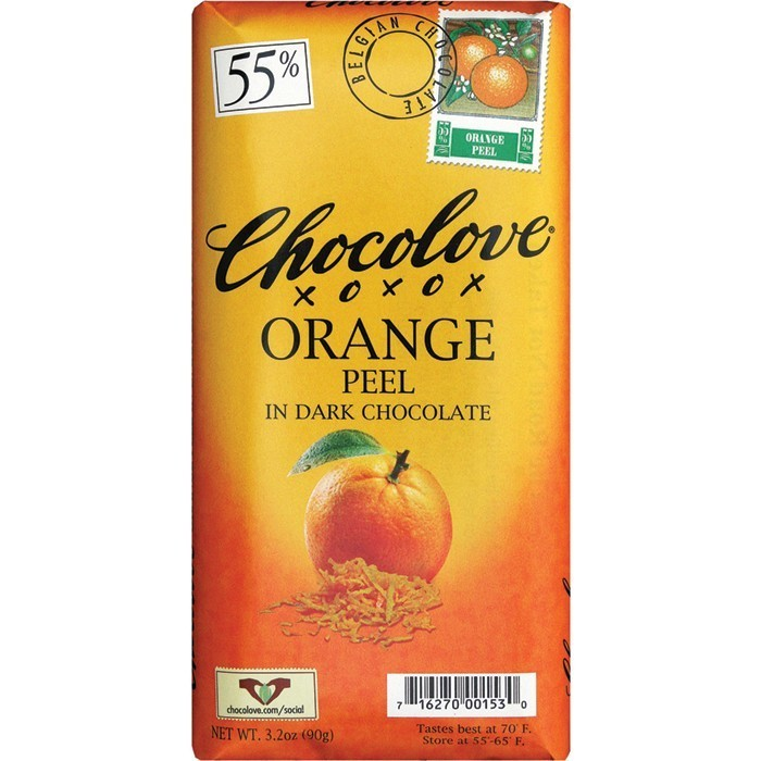 Chocolate Bar, Chocolove XOXOX® Orange Peel in Dark Chocolate (3.2 oz Bar)