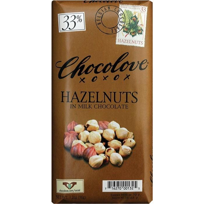 Chocolate Bar, Chocolove XOXOX® Hazelnuts in Milk Chocolate (3.2 oz Bar)