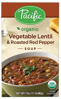 Boxed Organic Soup, Pacific® Organic Vegetable Lentil & Roasted Red Pepper Soup (17.6 oz Box)