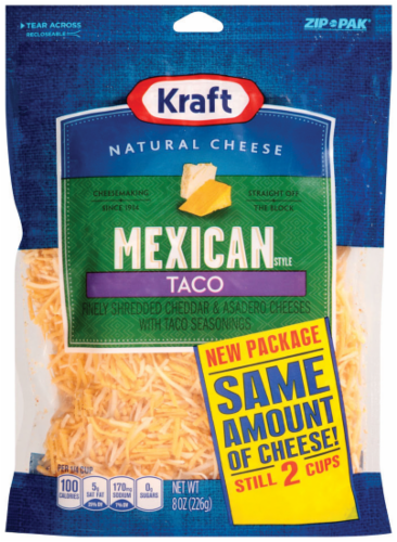 Shredded Cheese, Kraft® Mexican Taco Shredded Cheese (8 oz Resealable Bag)