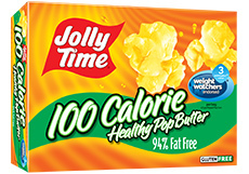 Microwave Popcorn, Jolly Time® Healthy Pop, 100 Calorie, Butter, 4.8 oz. Box (4 Mini Bags)