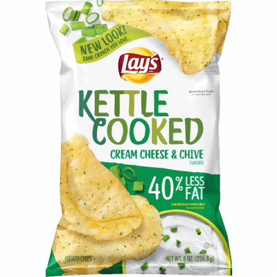 Potato Chips, Lay's® Kettle Cooked® Cream Cheese & Chive Potato Chips (8 oz Bag)