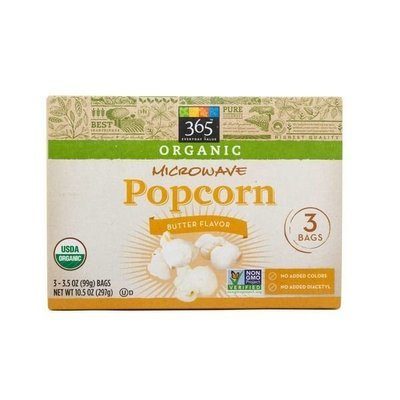 Organic Microwave Popcorn, 365® Organic Microwave Popcorn with Butter (10.5 oz. Box, 3 Bags)