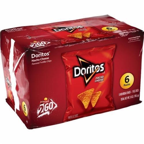 "Lunch Size Chips, Doritos® ""2Go Nacho Cheese Tortilla Chips"" (6 Count, 6 oz Bag)"