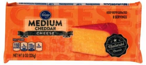 Cheese Block, Kroger® Block of Medium Cheddar Cheese (8 oz Bag)