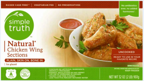 Frozen Chicken, Simple Truth™ Natural Chicken Wing Sections (32 oz Box)