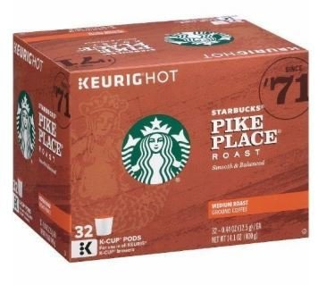 K Cup Coffee, Starbuck's® Pike Place Roast Coffee (Box of 32 Single K Cups)