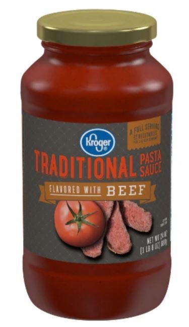 Pasta Sauce, Kroger® Traditional Flavored with Beef Pasta Sauce (24 oz Jar)