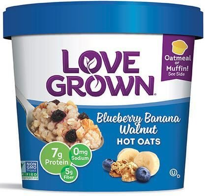 Hot Cereal, Love Grown® Hot Oats™ Blueberry Banana Walnut Oatmeal (Single Serve 2.22 oz Cup)