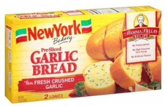 Garlic Bread, New York Bakery® Mamma Bella's Recipe® Pre-Sliced Garlic Bread (2 Count, 7 oz Box)