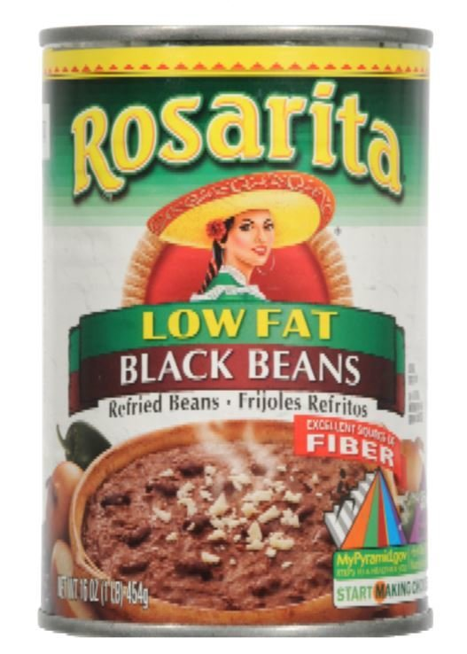 """Canned Refried Beans, Rosarita® """"No Fat"""" Refried Black Beans (16 oz Can)"""