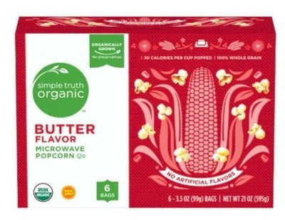 Microwave Popcorn, Simple Truth Organic™ Butter Microwave Popcorn (6 Count, 18 oz Box)
