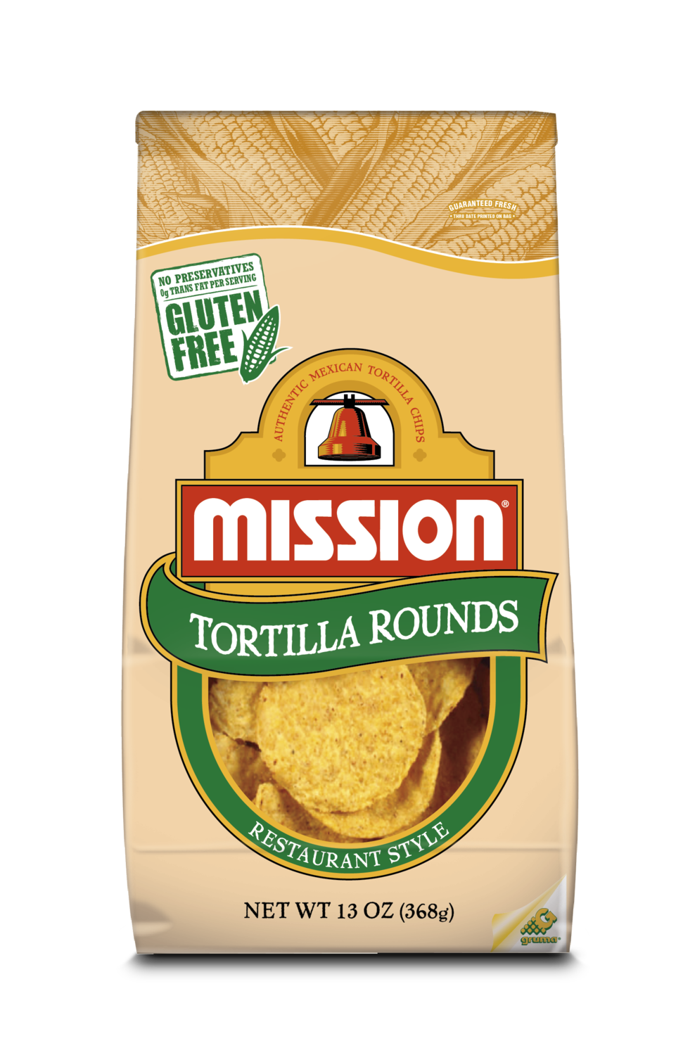 Snack, Mission® Brown Bag Yellow Corn Tortilla Rounds (18 oz. Bag)