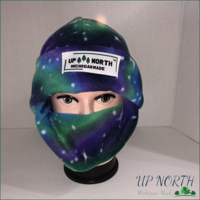 Northern Lights Winter Hat with Face Cover