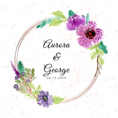 Digital file wedding badge with purple floral