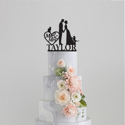 Mr & Mrs Couple name with a cat and a Dog Cake Topper