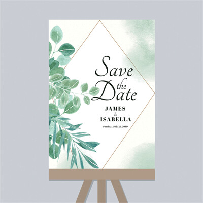 Digital File Save the Date Green Watercolor Plant Wedding