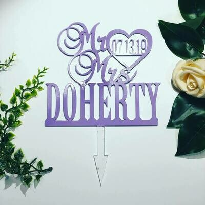 Mr & Mrs Couple name and date Cake Topper