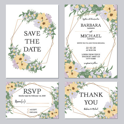 Digital File Floral Wedding Invitation Set Template With Yellow And Purple Flower Bouquet