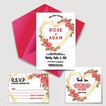 Digital File Wedding Invitation Set With Geometric Love Rose Red